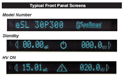 Typical Front Panel Screens
